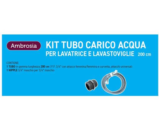 """Ambrosia KIT: TUBO CARICO LAVATR. CURVO CM.200 + 1 NIPPLES P/RACCORDARE DA 3/4"""" M.M IN PLASTICA"""