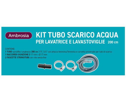 Ambrosia KIT: TUBO SCARICO LAVAT. CM200 CON CURVETTA + 1 RACCORDO P/TUBO SCARICO MM 17X17 + 2 FASCETTE STRINGITUBI