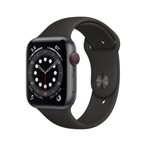 Apple Watch Serie 6 GPS + Cellular, 44mm in alluminio grigio siderale con cinturino Sport Nero