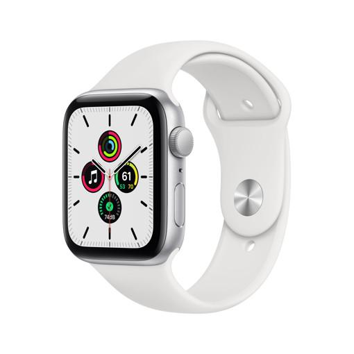 Apple Watch SE GPS, 44mm in alluminio argento con cinturino Sport Bianco