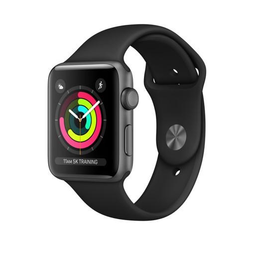 Apple Watch Series 3 GPS, 42mm in alluminio grigio siderale con cinturino Sport Nero