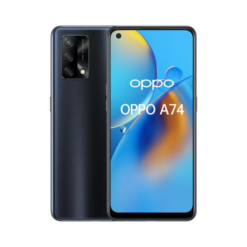 "OPPO A74 Smartphone, 175g, Display 6.43"" FHD+ AMOLED, 4 Fotocamere 48MP, RAM 6GB + ROM 128GB Espandibile, Batteria 5000mAh, Ricarica rapida, Dual Sim, [Versione Italiana], Prism Black"