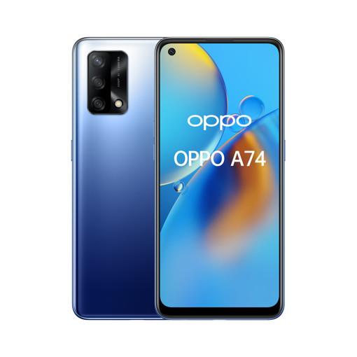 "OPPO A74 Smartphone, 175g, Display 6.43"" FHD+ AMOLED, 4 Fotocamere 48MP, RAM 6GB + ROM 128GB Espandibile, Batteria 5000mAh, Ricarica rapida, Dual Sim, [Versione Italiana], Midnight Blue"