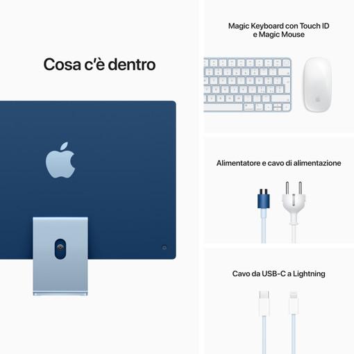 "Apple iMac 24"" con display Retina 4.5K (Chip M1 con GPU 8-core, 256GB SSD) - Blu (2021)"