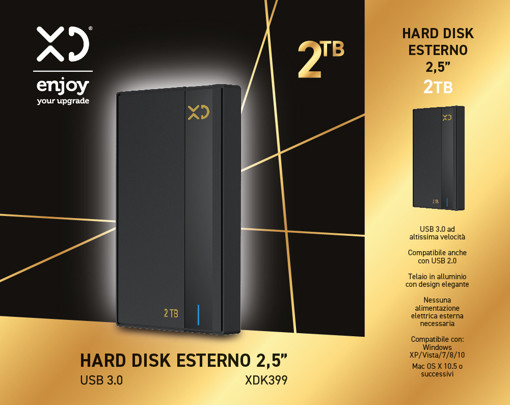 XD XDK399 disco rigido esterno 2000 GB Nero