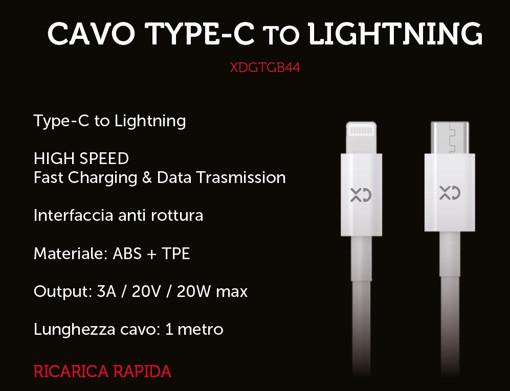 XD XDGTGB44 cavo Lightning 1 m Bianco