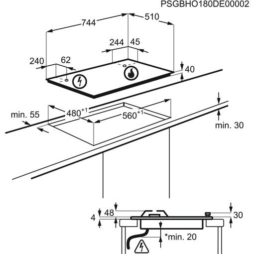 Electrolux EGS7536X piano cottura Acciaio inossidabile Da incasso Gas 5 Fornello(i)