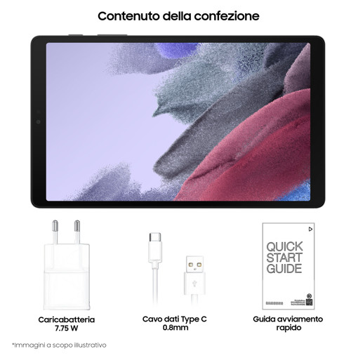 """Samsung Galaxy Tab A7 Lite SM-T220N 32 GB 22,1 cm (8.7"""") Mediatek 3 GB Wi-Fi 5 (802.11ac) Grigio"""