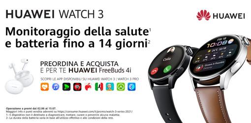 Huawei WATCH 3 L11E, Black, cinturino in fluoroelastomero nero