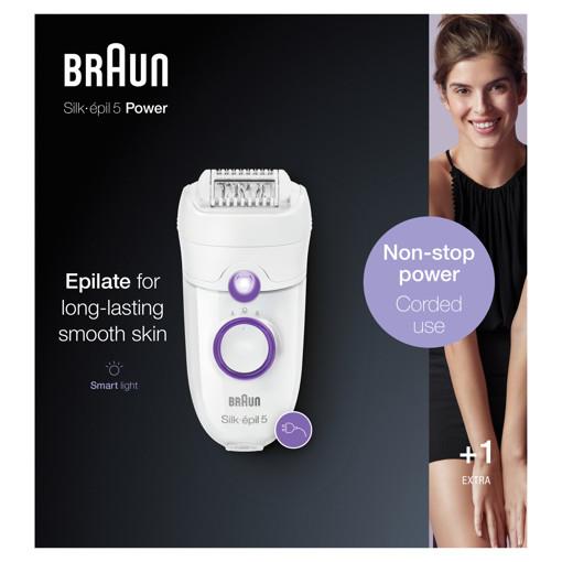 Braun Silk-épil 5 505 Power 28 pinzette Porpora, Bianco