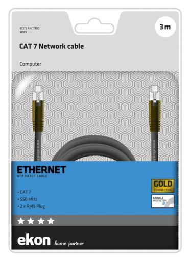 Ekon ECITLANC730G cavo di rete Nero 3 m Cat7 U/UTP (UTP)