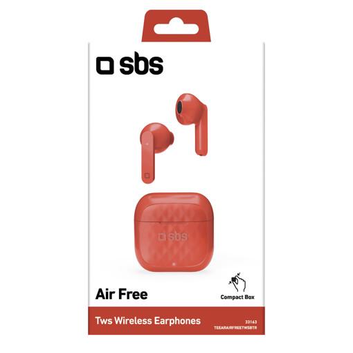 SBS TWS Air Free Cuffie Auricolare Base di ricarica Rosso