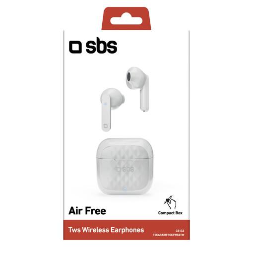 SBS TWS Air Free Cuffie Auricolare Base di ricarica Bianco