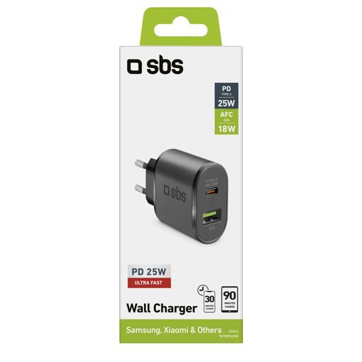 SBS TETRPD25W Caricabatterie per dispositivi mobili Nero Interno