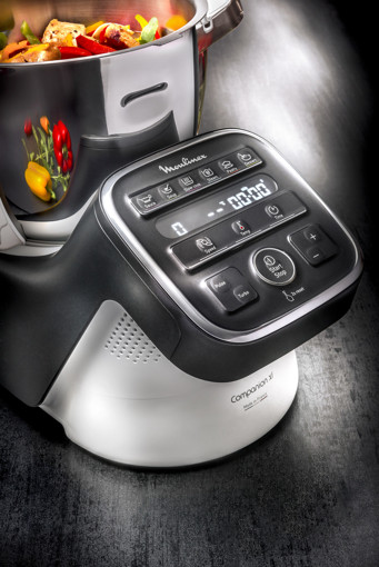 Moulinex HF8098 Companion XL, Robot da cucina multifunzione, 12 programmi automatici, 6 accessori, recipiente 3L, intervallo di temperatura da 30 °C a 150 °C, Ricettario: 300 idee per ricette, Nero/Bianco