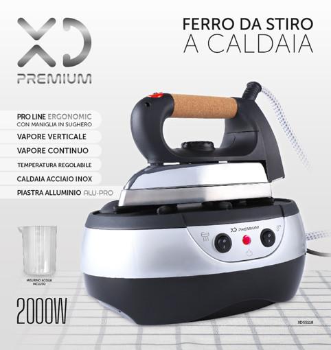 XD XDSS118 ferro da stiro a caldaia 800 W 1 L Alluminio Nero, Acciaio inossidabile