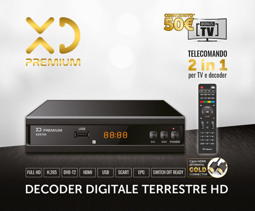 XD XDS785 set-top box TV Terrestre Full HD Nero
