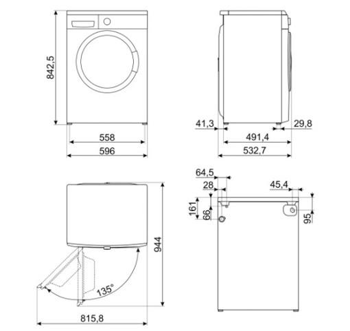 Smeg LBW60IT lavatrice Libera installazione Caricamento frontale 6 kg 1000 Giri/min D Bianco
