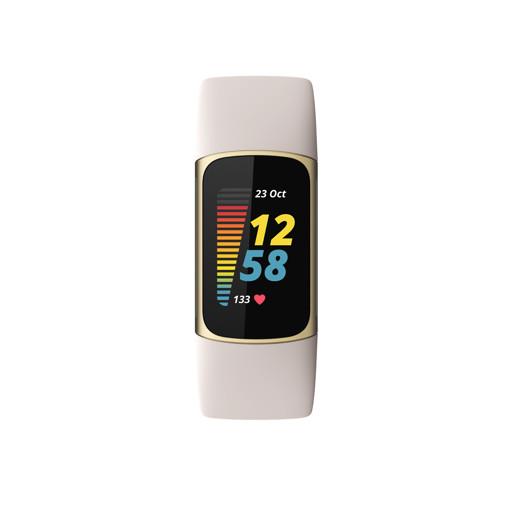Fitbit Charge 5 Braccialetto per rilevamento di attività Oro, Bianco