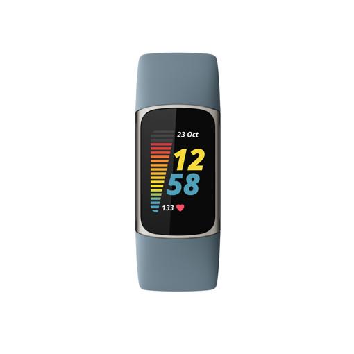 Fitbit Charge 5 Braccialetto per rilevamento di attività Blu, Acciaio inossidabile