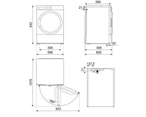 Smeg DT282PIT asciugatrice Libera installazione Caricamento frontale 8 kg A++ Bianco