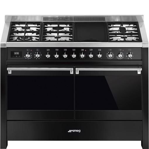 Smeg A4BL-81 cucina Piano cottura Combi Nero, Acciaio inossidabile A