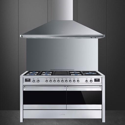 Smeg A5-81 cucina Piano cottura Combi Nero, Acciaio inossidabile A