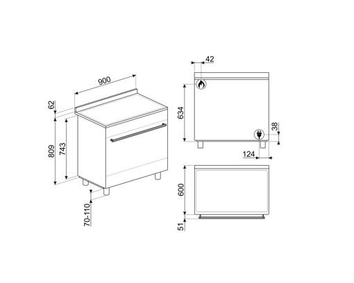 Smeg B91GMXI9 cucina Piano cottura Gas Acciaio inossidabile A