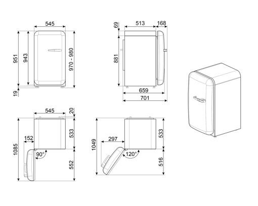 Smeg 50's Style frigorifero Libera installazione 135 L E Nero