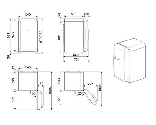 Smeg 50's Style frigorifero Libera installazione 135 L E Rosa