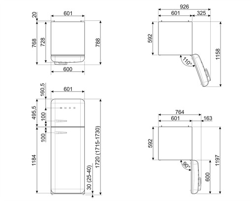 Smeg FAB30RBE5 frigorifero con congelatore Libera installazione 294 L D Blu