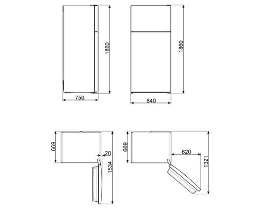 Smeg FD84EN4HM frigorifero con congelatore Libera installazione 575 L E Beige