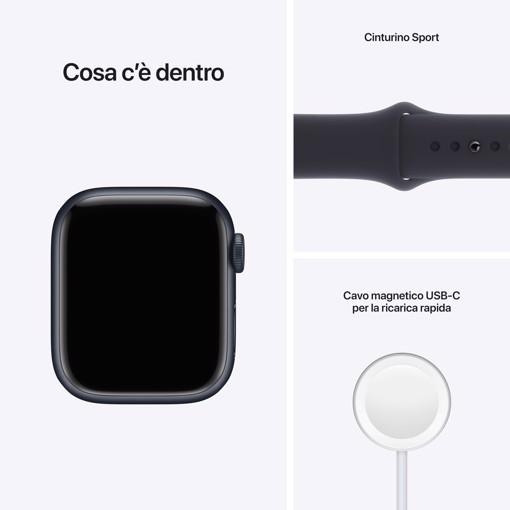 Apple Watch Series 7 GPS + Cellular, 41mm Cassa in Alluminio Mezzanotte con Mezzanotte Cinturino Sport -