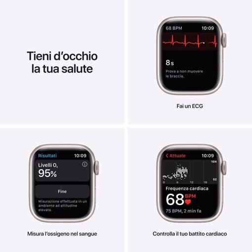 Apple Watch Series 7 GPS + Cellular, 41mm Cassa in Alluminio Galassia con Cinturino Sport Galassia