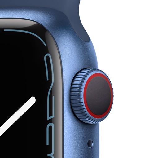 Apple Watch Series 7 GPS + Cellular, 41mm Cassa in Alluminio Blu con Cinturino Sport Azzurro
