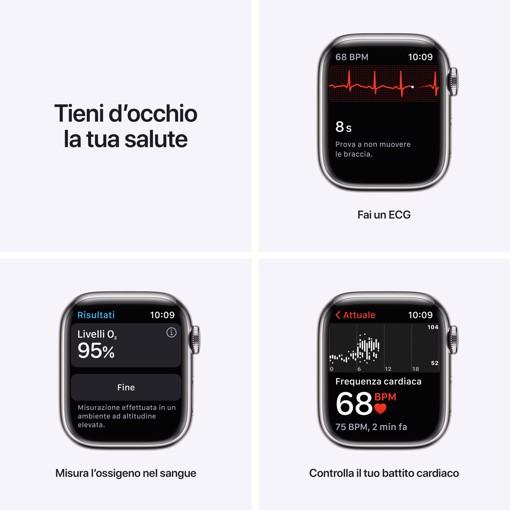 Apple Watch Series 7 GPS + Cellular, 41mm Cassa in Acciaio inossidabile color Argento con Cinturino Sport Galassia