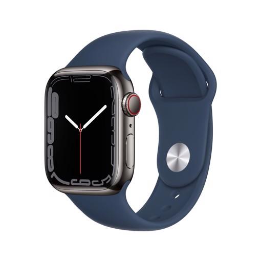 Apple Watch Series 7 GPS + Cellular, 41mm Cassa in Acciaio inossidabile Grafite con Cinturino Sport Azzurro