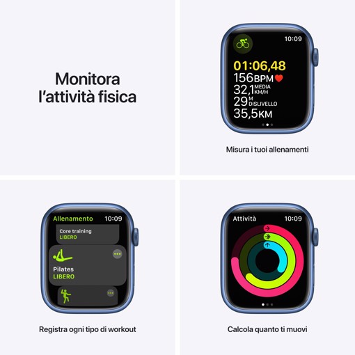 Apple Watch Series 7 GPS + Cellular, 45mm Cassa in Alluminio Blu con Cinturino Sport Azzurro
