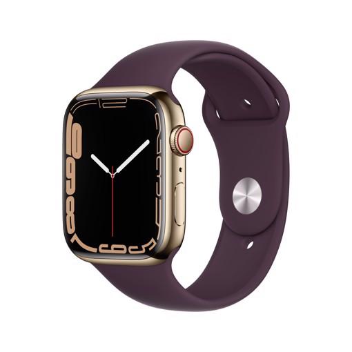 Apple Watch Series 7 GPS + Cellular, 45mm Cassa in Acciaio inossidabile color Oro con Cinturino Sport Ciliegio Scuro