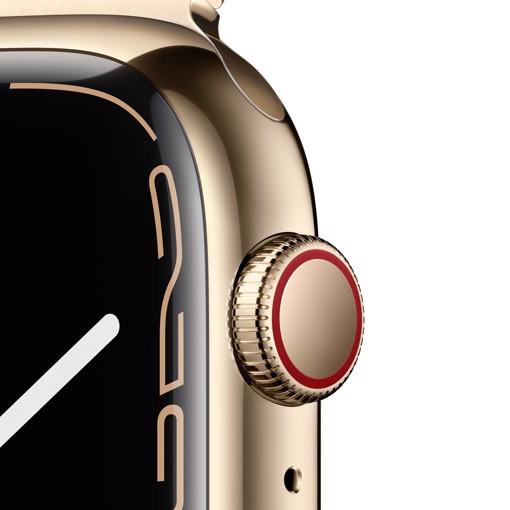 Apple Watch Series 7 GPS + Cellular, 45mm Cassa in Acciaio inossidabile color Oro con Maglia Milanese Oro