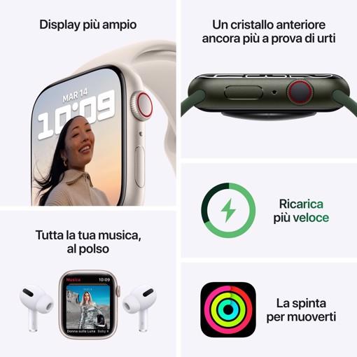 Apple Watch Nike Series 7 GPS + Cellular, 45mm Cassa in Alluminio Galassia con Cinturino Sport Platino Puro/Nero