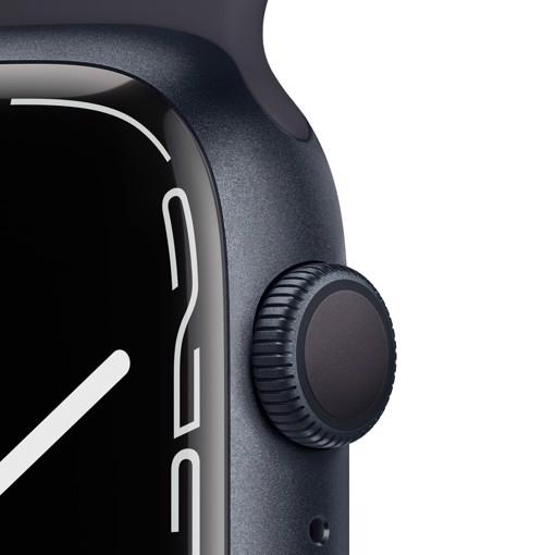 Apple Watch Series 7 GPS, 45mm Cassa in Alluminio Mezzanotte con Cinturino Sport Mezzanotte