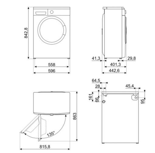 Smeg LBW50CIT lavatrice Caricamento frontale 5 kg 1000 Giri/min D Bianco