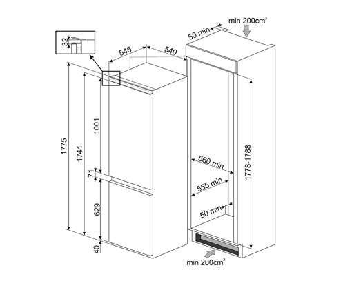 Smeg CP177TNE frigorifero con congelatore Da incasso 254 L E Bianco