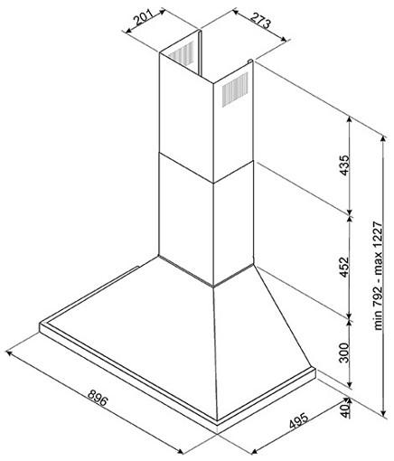 Smeg KPF9X cappa aspirante Cappa aspirante a parete Acciaio inossidabile 781 m³/h A+