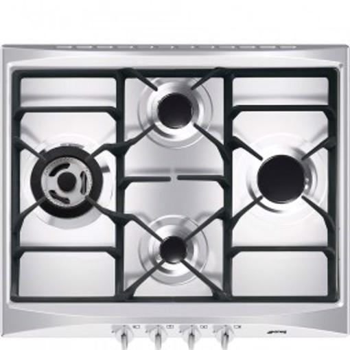 Smeg Cucina SR264XGH2 piano cottura Nero, Argento Da incasso 60 cm Gas 4 Fornello(i)