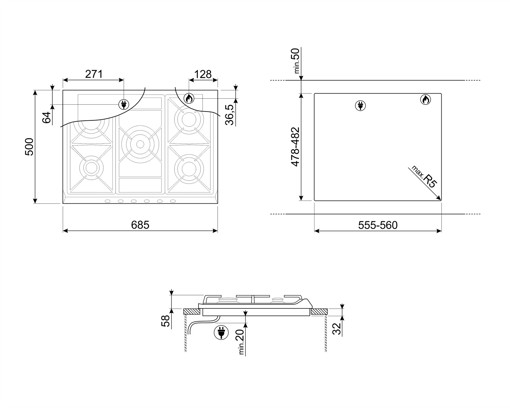 Smeg SR275X2 piano cottura Acciaio inossidabile Da incasso Gas 5 Fornello(i)